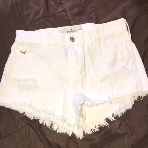 Hollister Pants - Hollister White Ripped Jean Shorts